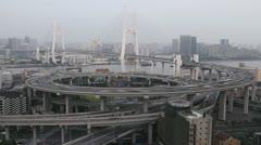 Aerial View of Shanghai, Nanpu Bridge, Big City Car Traffic Jam, time lapse Stock Footage
