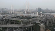 Aerial View of Shanghai, Nanpu Bridge, Big City Car Traffic Jam, time lapse Stock Footage