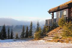 norwegian cabin - stock photo