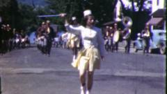 MAJORETTES Parade Girls 1940s Vintage Old Film Home Movie Footage 6083 - stock footage