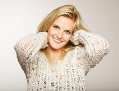 woman with clear complexion - stock photo