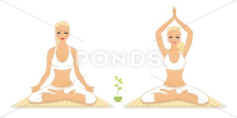Stock Illustration of beautiful woman doing youga exercises