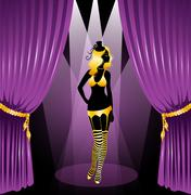 Cabaret woman silhouette Stock Illustration