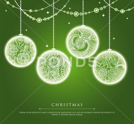 Stock Illustration of christmas balls with doodle texture