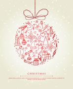 Xmas doodle ball Stock Illustration