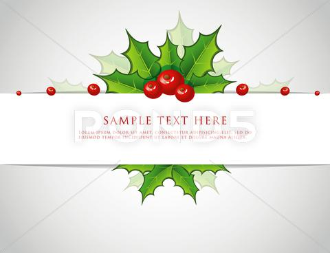 Stock Illustration of holly christmas branch back