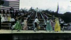 MAYPOLE DANCE TEENS on Stage 1948 (Vintage Old Film Home Movie) 6088 Stock Footage