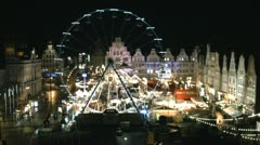 German Christmas Market Rostock - Time Lapse - Baltic Sea, Northern Germany Stock Footage