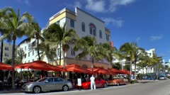 Sidewalk Cafe in the Art Deco area of Miami Beach - stock footage