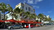 Sidewalk Cafe in the Art Deco area of Miami Beach Stock Footage
