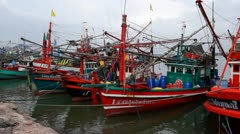 Thai fisherman's boats Stock Footage