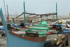 Philippines boats on land before Typhoon Stock Footage