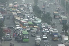 Philippines Traffic Congestion and air pollution Stock Footage