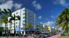 Art Deco building architecture in Miami Beach Stock Footage