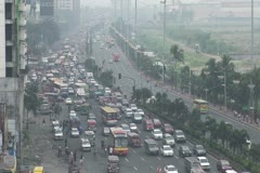Philippines City Traffic Smog Stock Footage