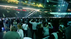 Panorama of hall with fans on concert of Legend RetroFM Stock Footage