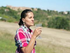 Young woman drinking wine on meadow, crane shot NTSC Stock Footage