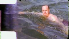 Middle Aged Man SWIMMING Play Lake Fun 1960 (Vintage Film Retro Home Movie) 6094 Stock Footage