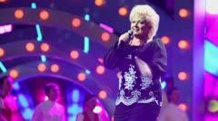 Anne Veski sings on stage during concert of Legend RetroFM Stock Footage