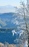 Stock Photo of rime covered trees in winter mountain