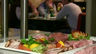 Stock Video Footage of sausage buffet