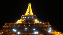 Eiffel Tower at night with sparkling light Paris - stock footage