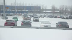 Large parking with lot of cars, trainview at winter day Stock Footage