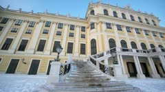 Entrance with stairway of Schonbrunn Palace, panoramic motion Stock Footage