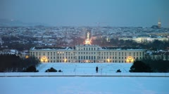 Cityscape with traffic and Schonbrunn Palace at winter Stock Footage