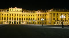 Schonbrunn Palace, panoramic view at winter night Stock Footage