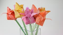 Paper origami tulips Stock Footage