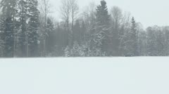 Car ride by road near forest at winter day, show from train Stock Footage