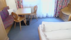 Hotel room with beds and other furniture, panoramic motion Stock Footage