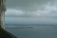 Waterspout filmed from an airplane Stock Footage
