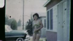 SKINNY WOMAN BATHING SUIT 1955 (Vintage Old Film Home Movie) 6109 Stock Footage