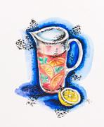 jug with lemonade and lemon still life, watercolor with slate-pencil painting - stock photo