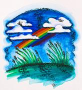 rainbow over green meadow, watercolor with slate-pencil painting - stock photo