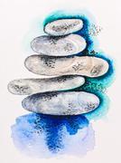 Pebble stones heap harmony symbol, watercolor with slate-pencil painting Stock Photos