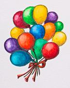multicolored celebration balloons, watercolor with slate-pencil painting - stock photo