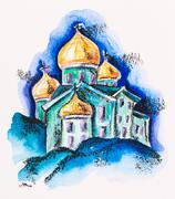 temple building with golden cupola, watercolor with slate-pencil painting - stock photo
