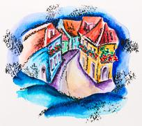 Fairy town street with flowered balcony houses, watercolor with slate-pencil  Stock Photos