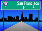 Freeway to san francisco Stock Illustration