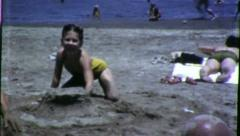 BUILDING SAND CASTLE Beach 1960 (Vintage Old Film Home Movie Footage) 6111 Stock Footage