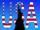 Statue of liberty usa text Stock Illustration
