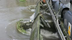 Sluice gates let out flood water Stock Footage