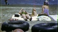 BATHING SUIT Women Ocean Beach 1955 (Vintage Old Film Home Movie) 6113 Stock Footage
