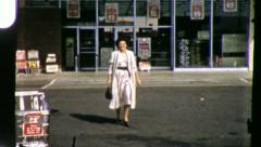 SUPERMARKET Woman Shopper Parking Lot Grocery 70s Vintage Film Home Movie 6114 Stock Footage