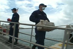 Coast Guard offloading Cocaine - stock footage