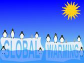 Global warming with penguins Stock Illustration