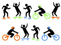 Skate boarders and cyclists Stock Illustration